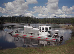 Portable Rotomite-6000 dredges & pumps 150 cubic yards of solids per hour.