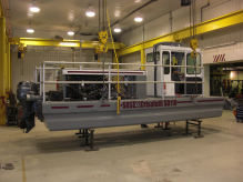 Portable, shallow draft Rotomite-SD110; can produce 85 cubic yards of dredged solids per hour.