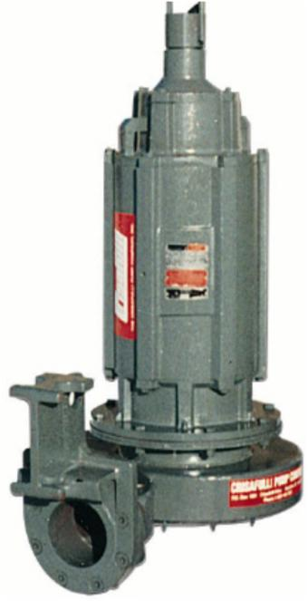 """Submersible Electric Pump, 72 models, flows to 3,000 GPM, TDHs to 270', solids 3""""."""
