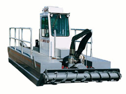 Rugged self-propelled Rotomite-6000 can dredge & pump 150 cubic yards of solids per hour.