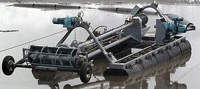 Automated, remote controlled, portable FLUMP can dredge & pump 80 cubic yards of solids per hour.