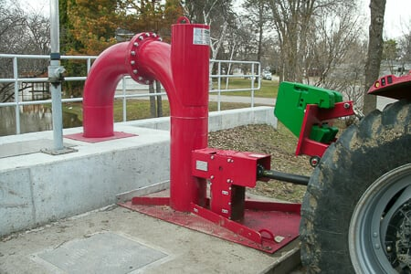 Tractor connected to PTO powered Vertical Pump