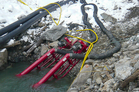 Two Crisafulli Electric on Frame Pumps in snowy pond