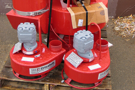 Two small submersible hydraulic pumps and one large one