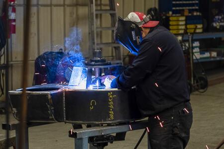 Tony welding a volute