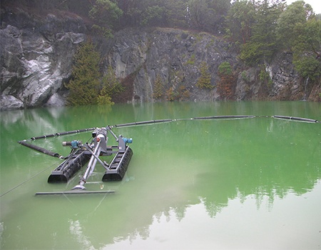 FLUMP at a mine with green water